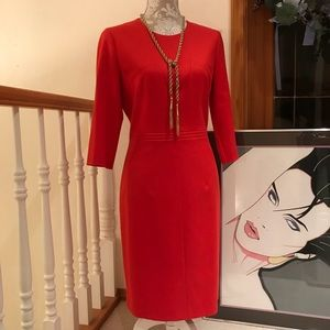 HUGO BOSS Red Fine Wool Designer Dress 10